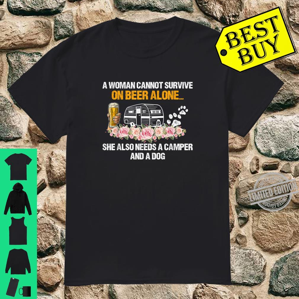 A Can't Survive On Beer Alone She Also Needs Camping Shirt