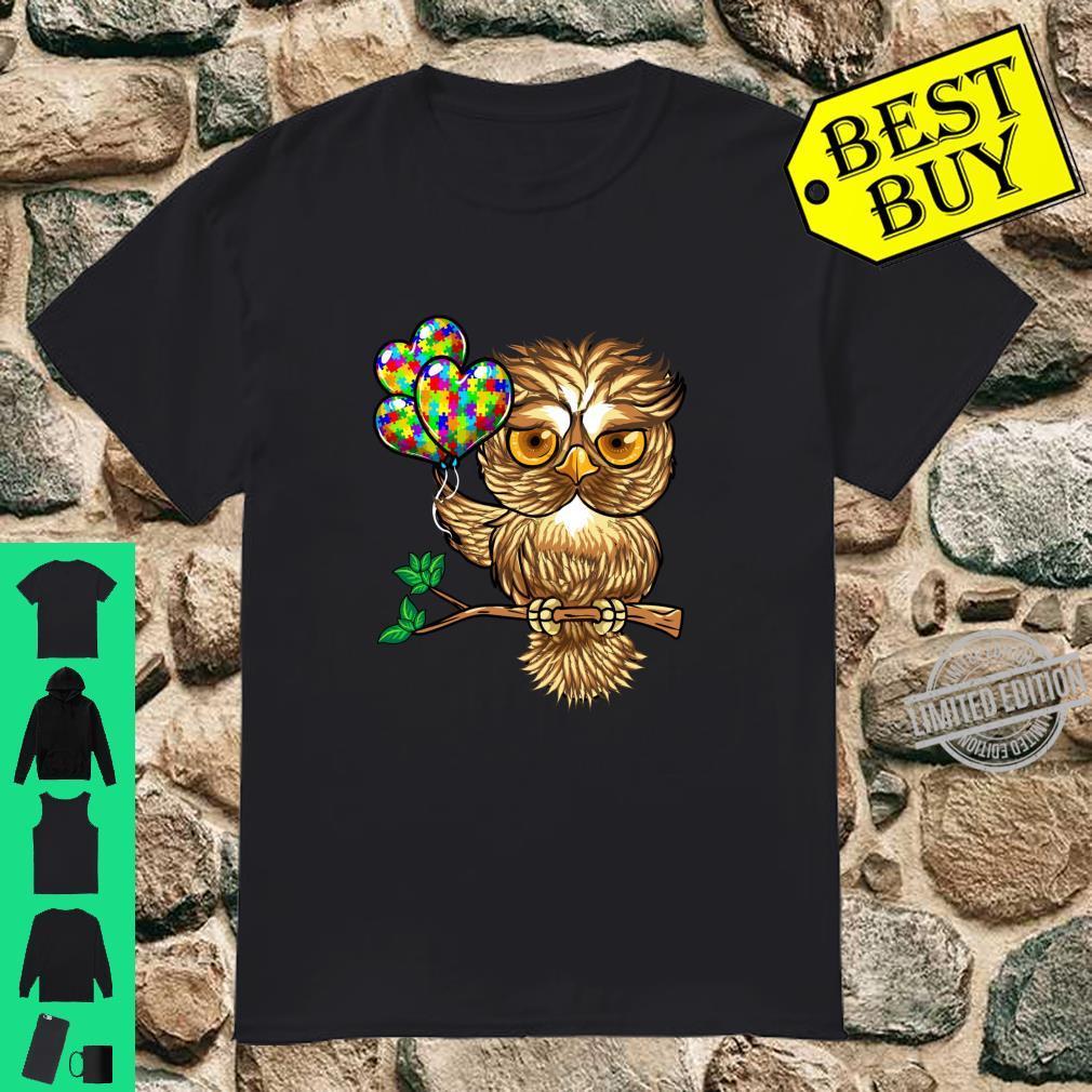 Autism Awareness Cute Owl Color Puzzles Heart Balloons Shirt
