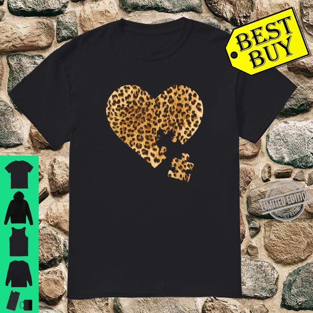 Autism awareness heart Leopard Fashion Shirt