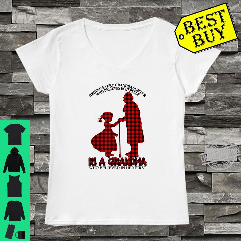 Behind every granddaughter Is a Grandma Red Plaid Mother day Shirt ladies tee