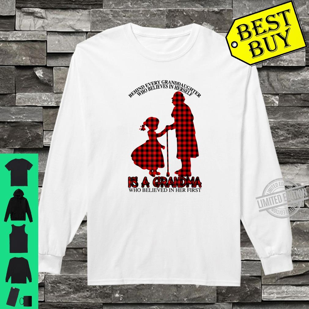 Behind every granddaughter Is a Grandma Red Plaid Mother day Shirt long sleeved