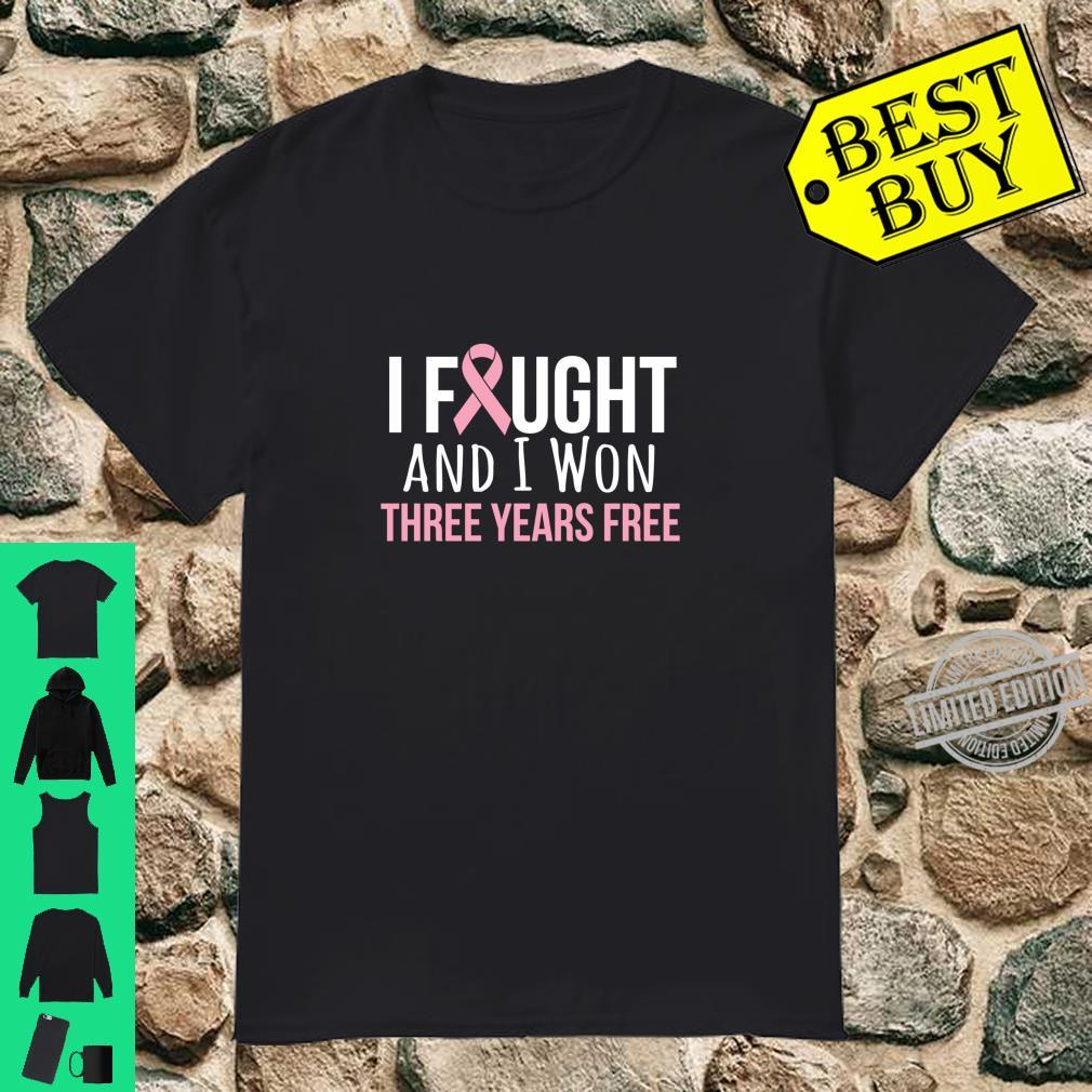 Breast Cancer Three Years Anniversary 3 Years Survivor Pink Shirt