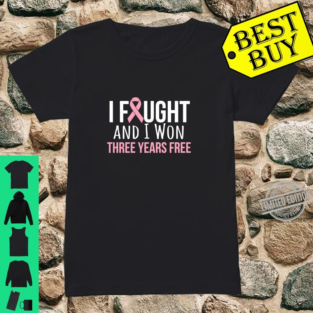 Breast Cancer Three Years Anniversary 3 Years Survivor Pink Shirt ladies tee