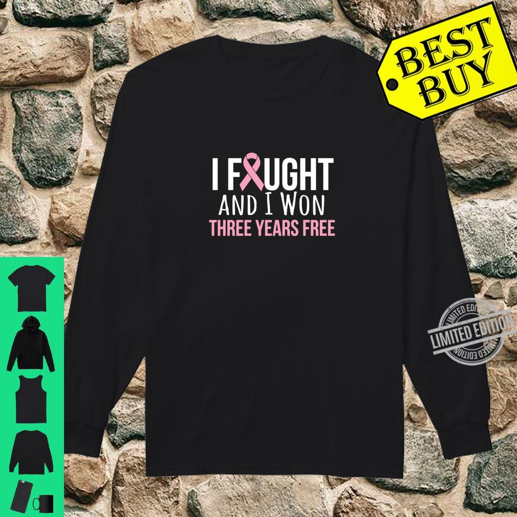 Breast Cancer Three Years Anniversary 3 Years Survivor Pink Shirt long sleeved