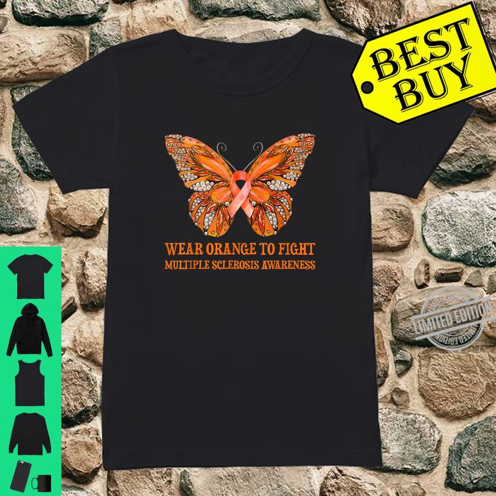 Butterfly Wear Orange To Fight Multiple Sclerosis Awareness Shirt ladies tee