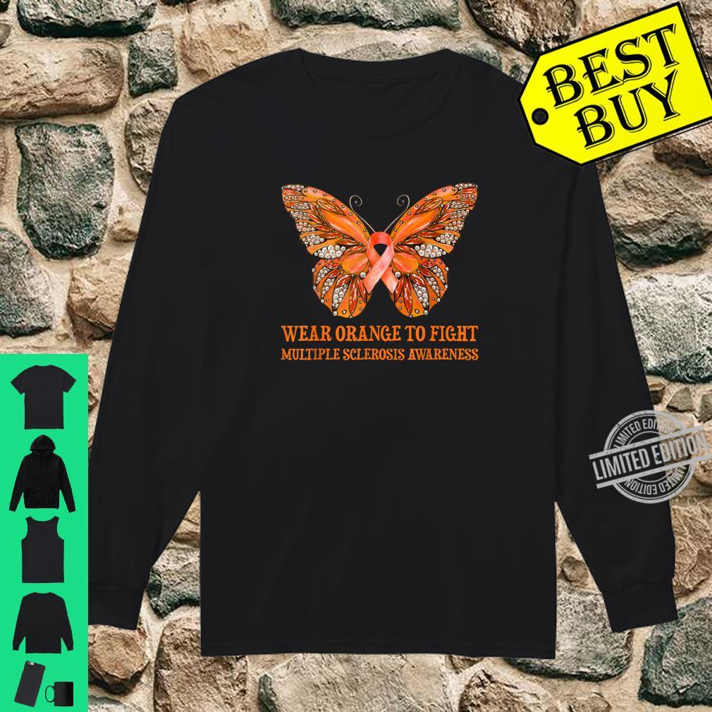 Butterfly Wear Orange To Fight Multiple Sclerosis Awareness Shirt long sleeved
