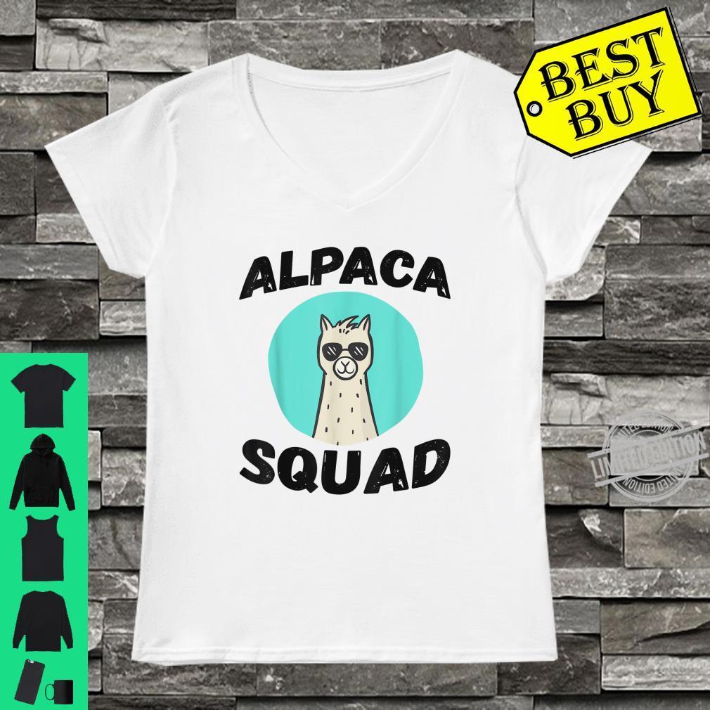 Cute Alpaca Squad Proud alpaca with glasses for lamas Shirt ladies tee