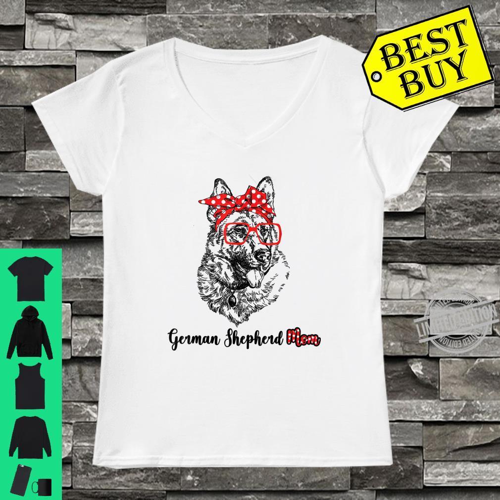 Happy Mother's Day German Shepherd Mom Red Headband Shirt ladies tee