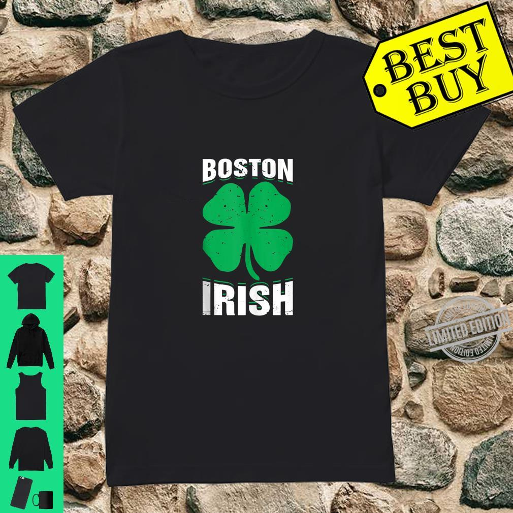 Irish Boston FourLeaf Clover St.Patrick's Day Shirt ladies tee