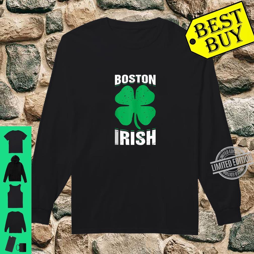 Irish Boston FourLeaf Clover St.Patrick's Day Shirt long sleeved