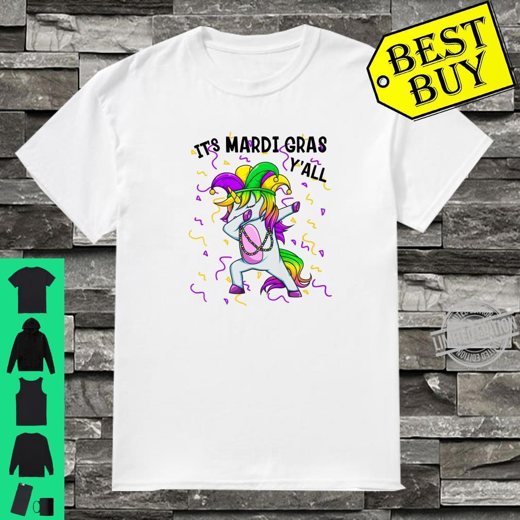 It's Mardi Gras Y'All Dabbing Unicorn Bead Costume Shirt