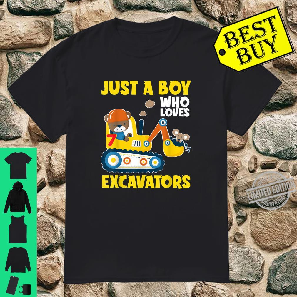 Just A Boy Who Loves Excavators 7 Years Old Birthday Party Shirt