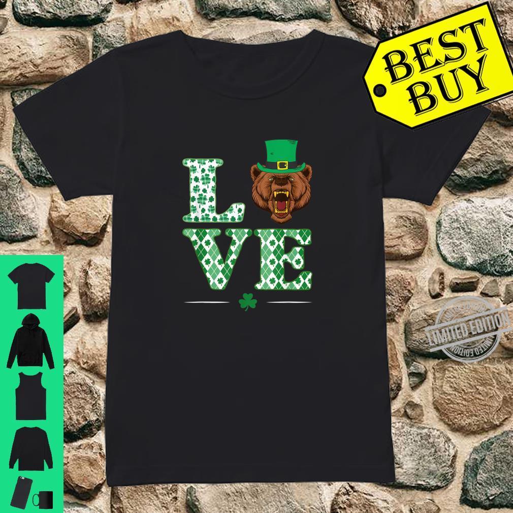 Love Bear Shamrock St. Patrick Day Shirt ladies tee