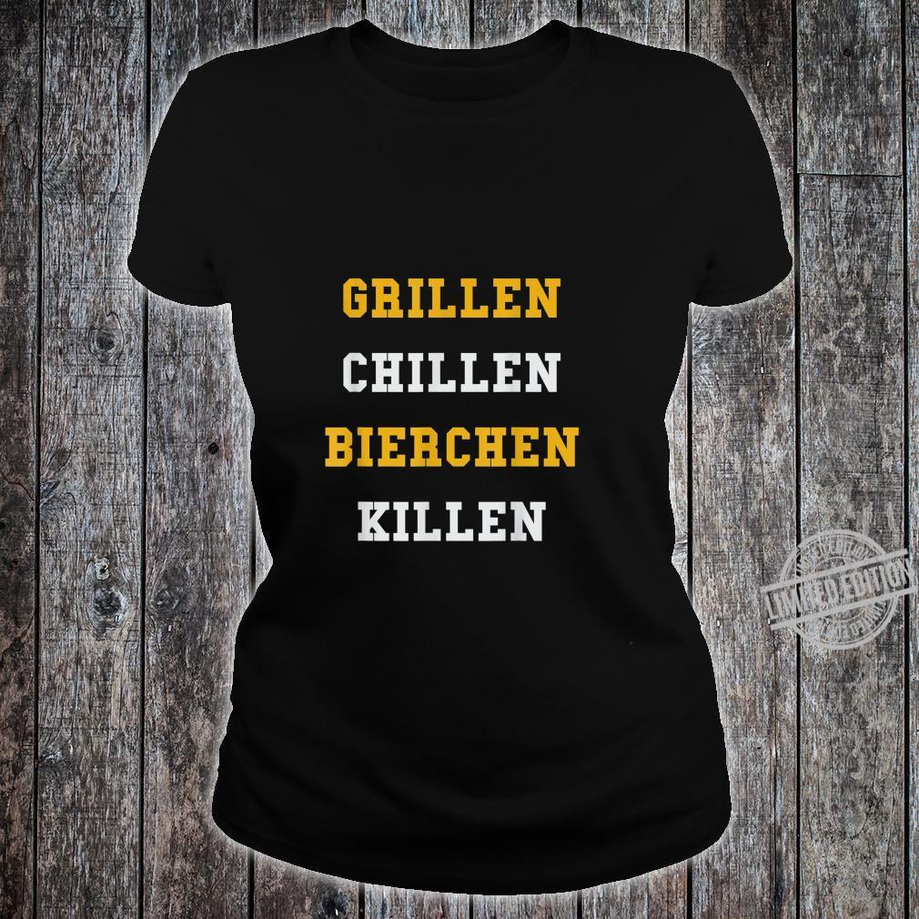 Lustiges BBQ Grillgeschenk Grillen Chillen Bierchen Killen Shirt ladies tee