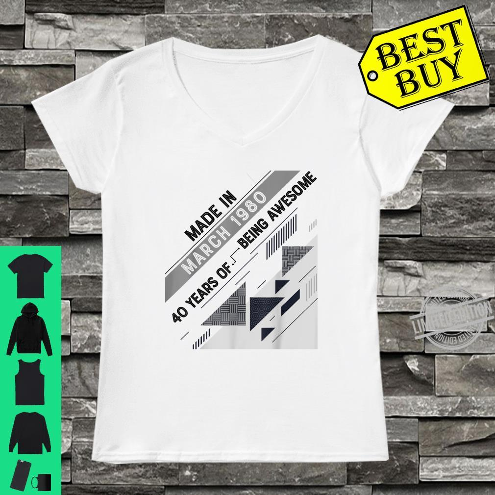 Made in March 1980 40 Years Old 40th Birthday Shirt ladies tee