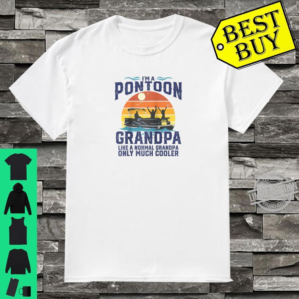 Mens Pontoon Grandpa Captain Retro Boating Fathers Day Shirt
