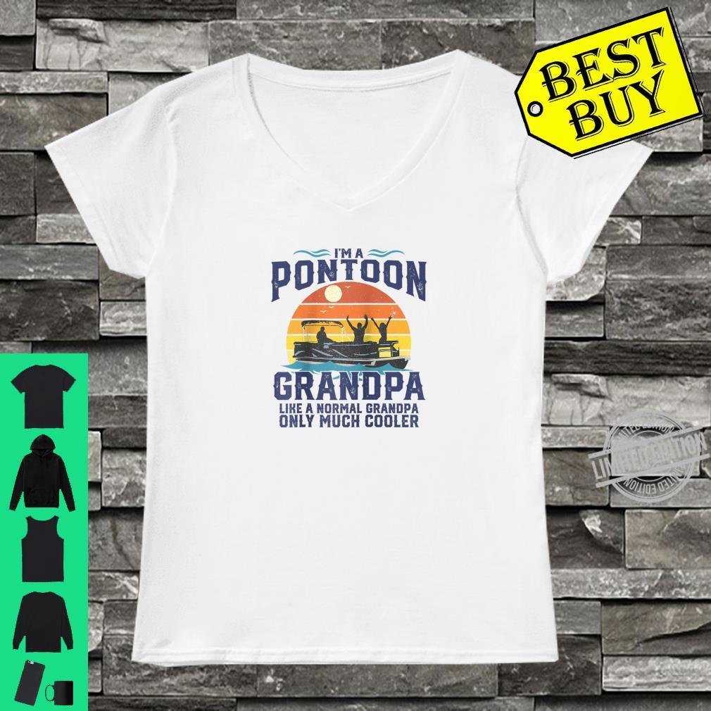 Mens Pontoon Grandpa Captain Retro Boating Fathers Day Shirt ladies tee