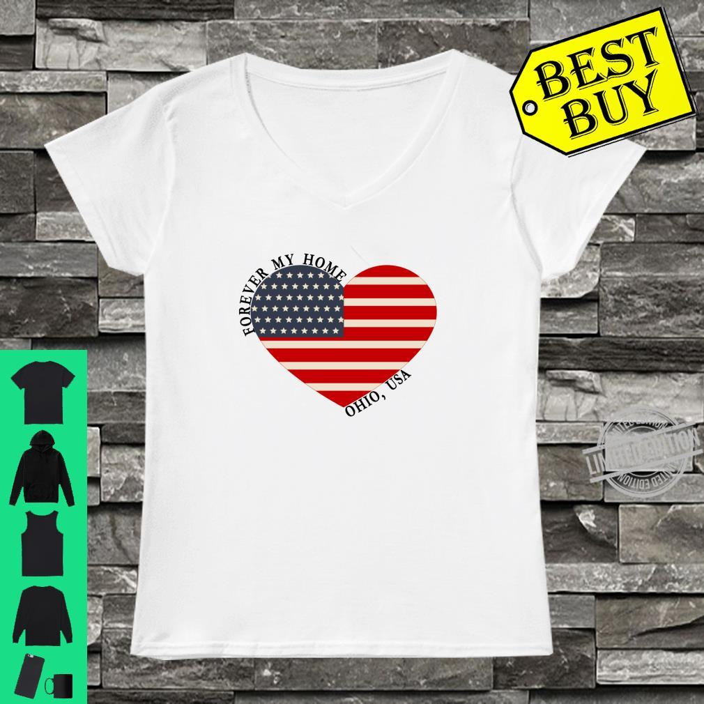 Ohio Forever My Home Heart Flag USA Shirt ladies tee