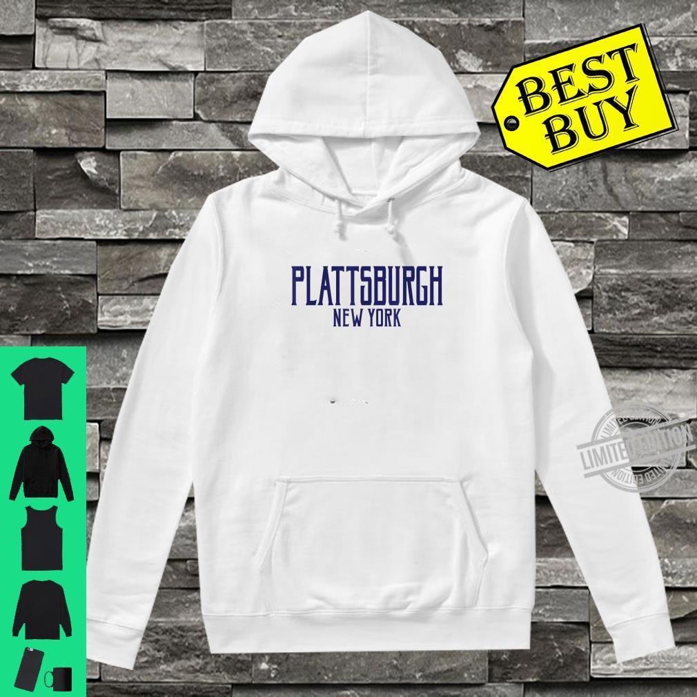 Plattsburgh New York Vintage Text Navy Blue Print Shirt hoodie