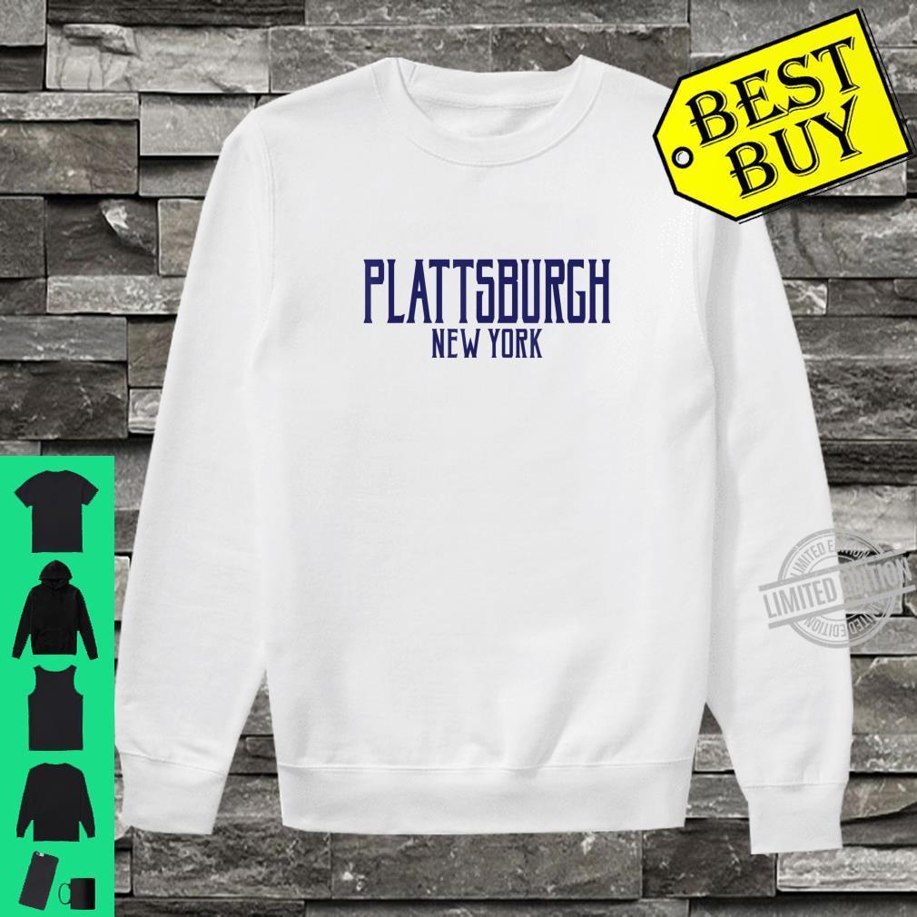 Plattsburgh New York Vintage Text Navy Blue Print Shirt sweater