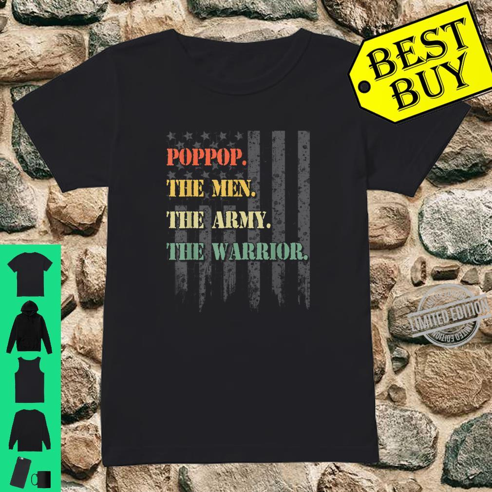 Poppop The Man The Army The Warrior American USA Flag Shirt ladies tee