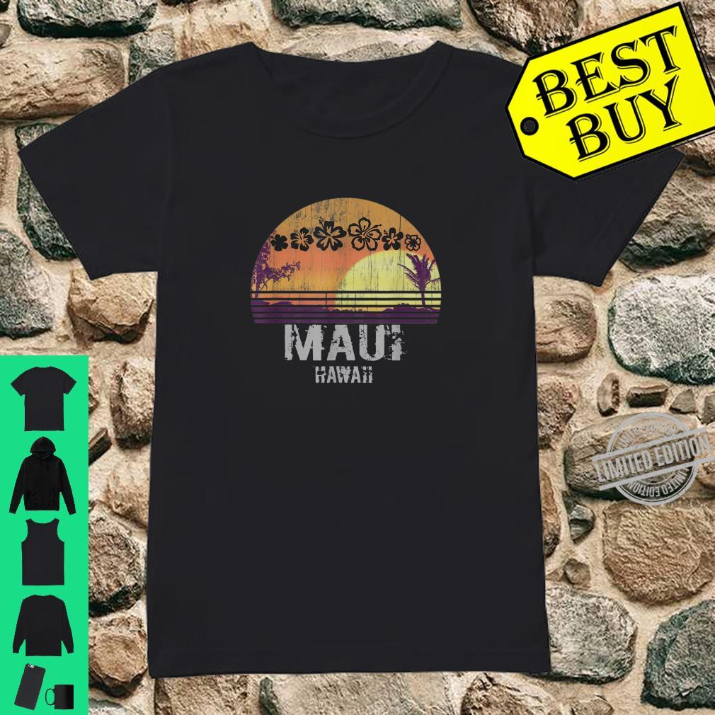 Retro Maui Hawaii Beach Sunset Vintage Shirt ladies tee