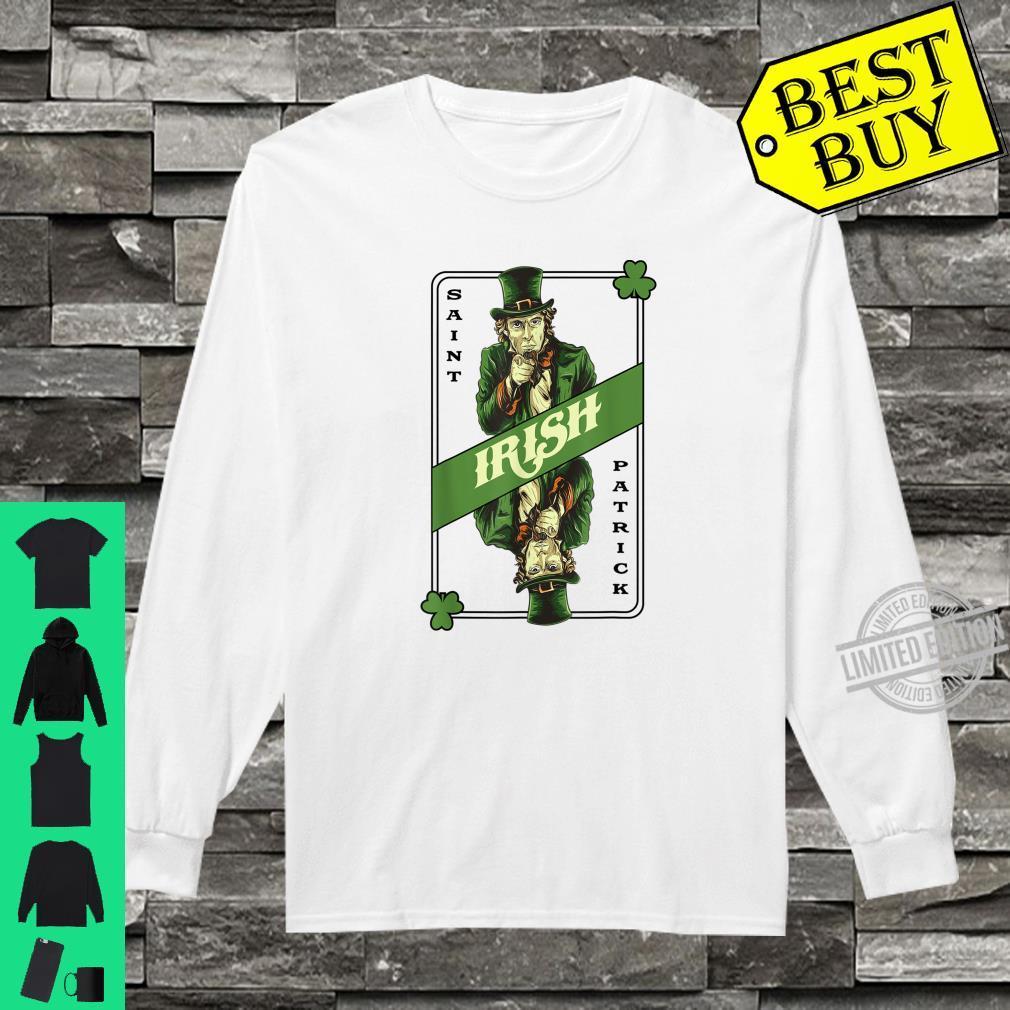 Saint Patrick's Irish Poker Card Drinking Alcohol Leprechaun Shirt long sleeved