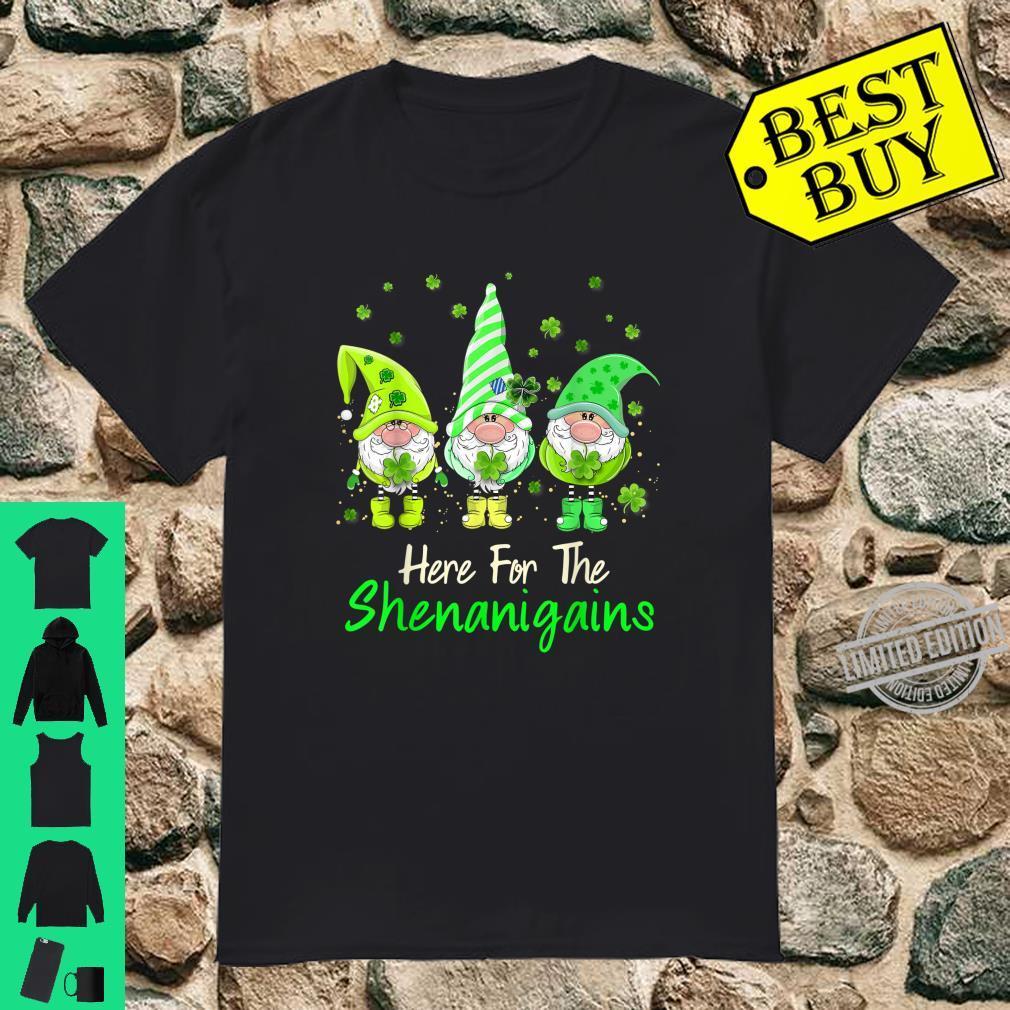 St Patricks Day Here For The Shenanigans Gnome Shamrock Shirt