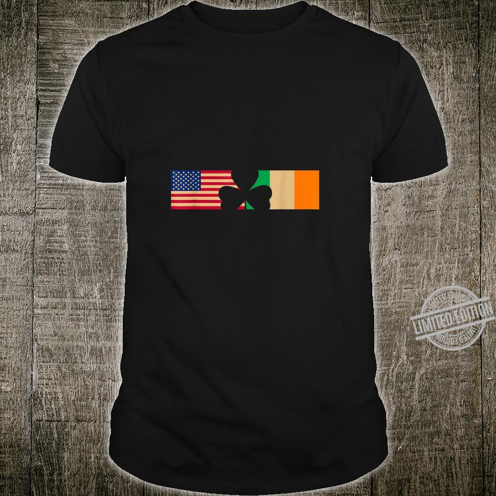 St Patricks Day Shamrock Irish and American Flags Shirt
