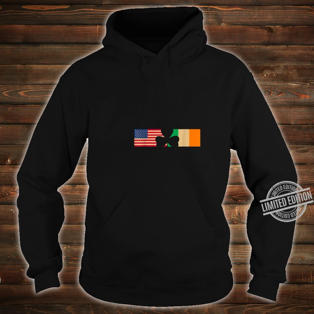 St Patricks Day Shamrock Irish and American Flags Shirt hoodie