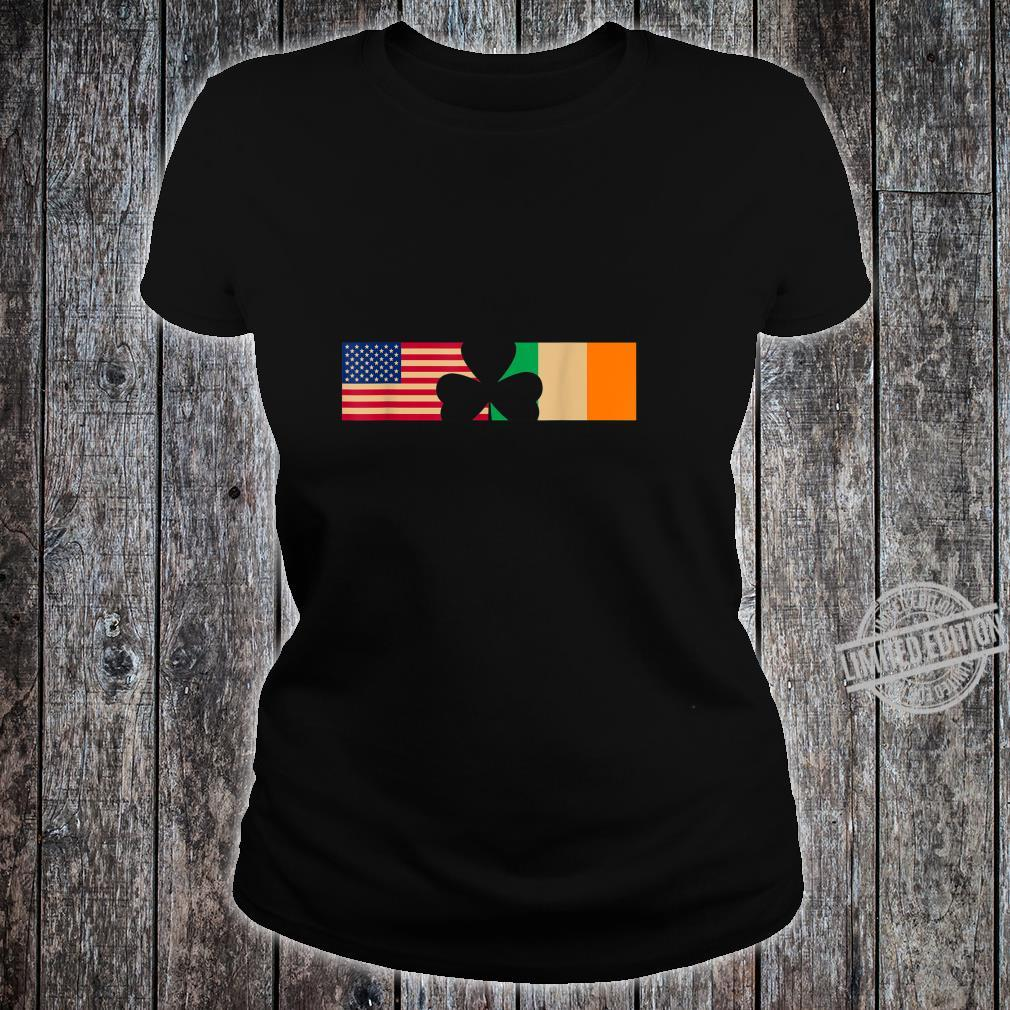 St Patricks Day Shamrock Irish and American Flags Shirt ladies tee