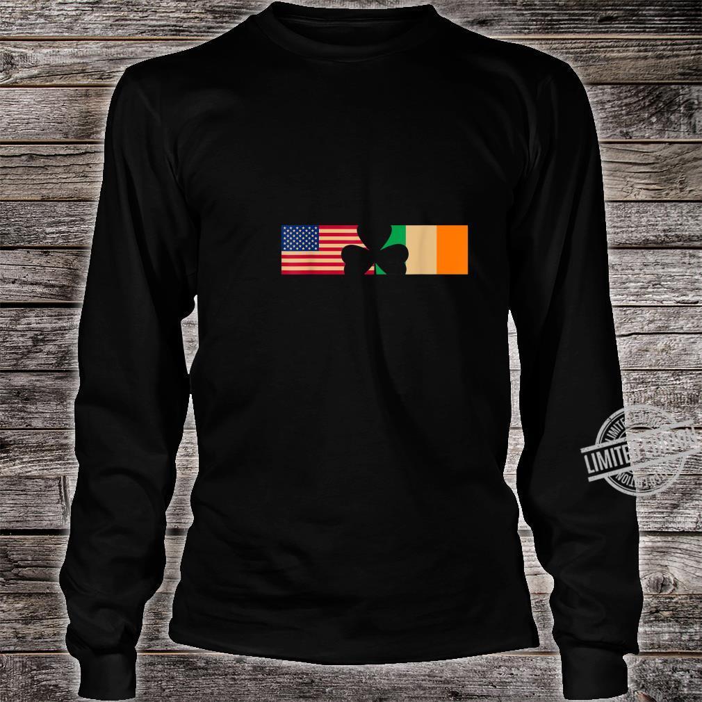 St Patricks Day Shamrock Irish and American Flags Shirt long sleeved