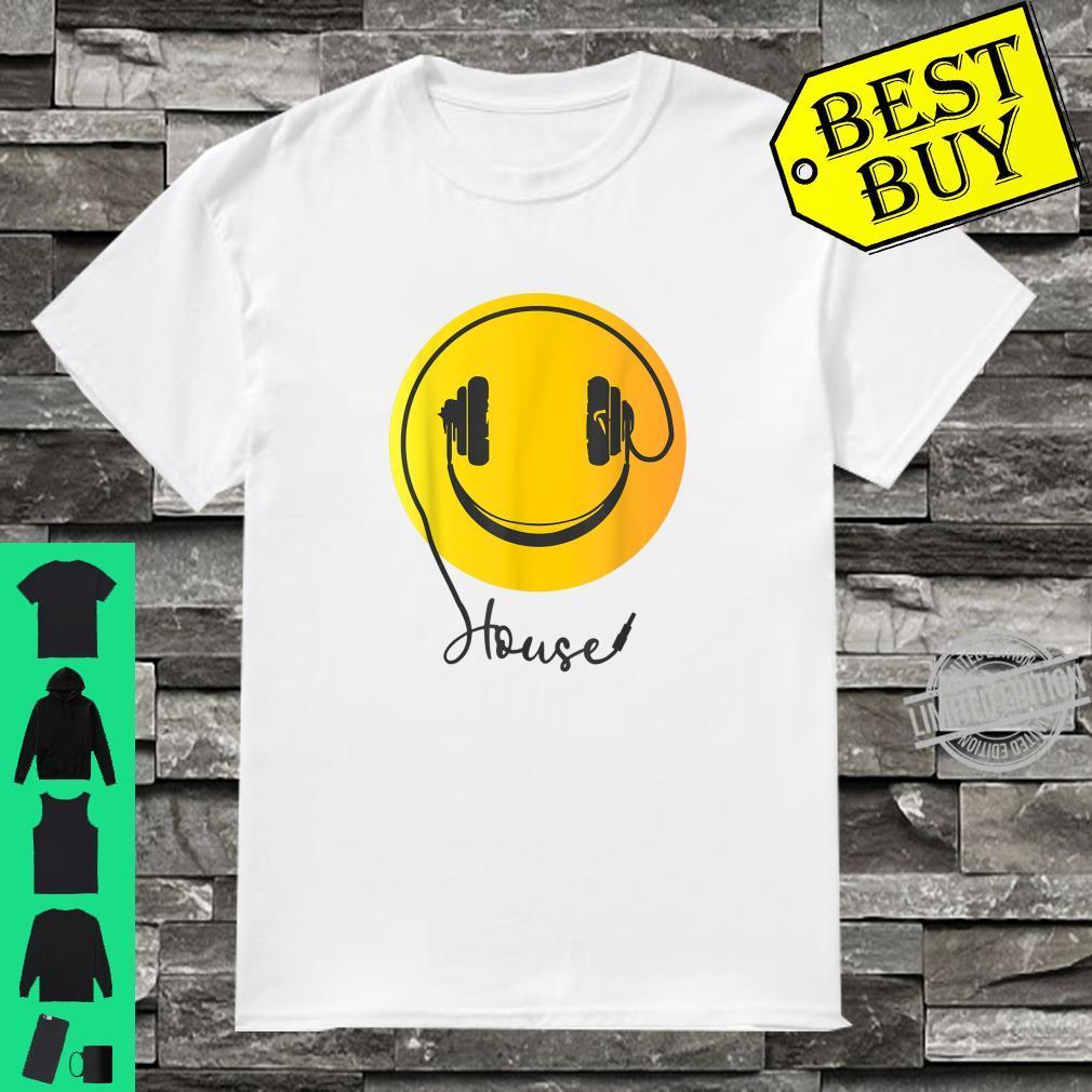 Yellow Smiley DJ Face Headphone Shirt for Rave Shirt